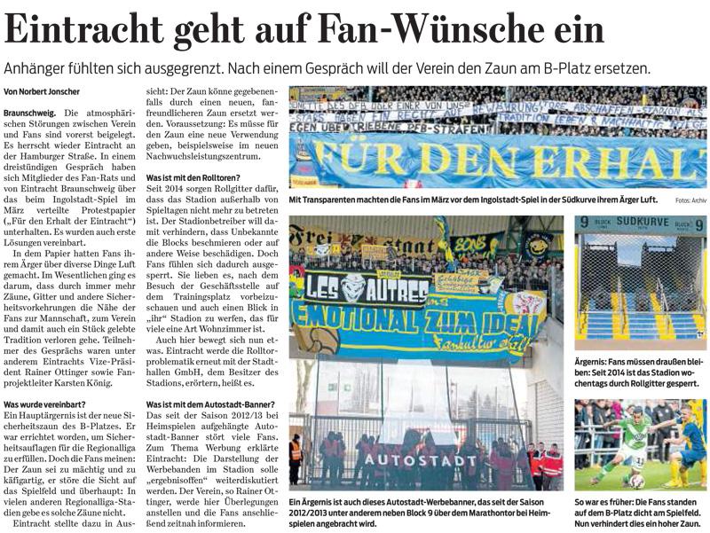 Braunschweiger Zeitung, 17.04.2015